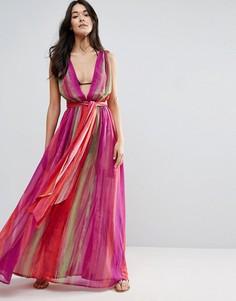 Пляжное плиссированное платье макси с глубоким вырезом и радужным принтом ASOS - Мульти