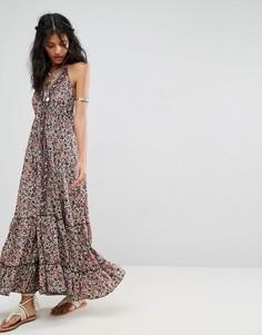 Платье макси с лямкой через шею и принтом Raga Granada - Мульти
