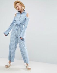 Полосатый комбинезон с отделкой в стиле рубашки, поясом и открытыми плечами ASOS - Синий