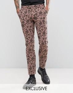 Супероблегающие брюки с цветочным принтом Noose & Monkey - Розовый