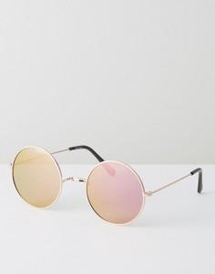 Золотистые круглые солнцезащитные очки со стеклами цвета розового золота ASOS - Золотой