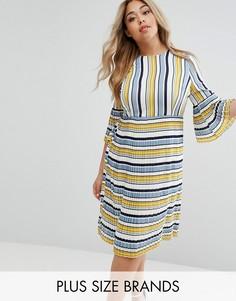 4db6da66e56 Чайное платье в разноцветную полоску с рукавами и юбкой плиссе Lost Ink  Plus - Мульти