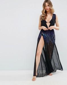 Пляжное платье макси с боковым разрезом и пайетками ASOS - Мульти