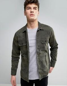 Камуфляжная рубашка милитари с 2 карманами Abercrombie & Fitch - Зеленый