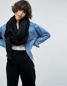 Легкий широкий шарф с кольцами ASOS - Черный