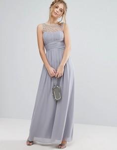 Платье макси с декоративной отделкой Little Mistress - Серый