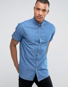 Узкая джинсовая рубашка-премиум Jack & Jones - Темно-синий