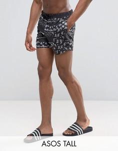Короткие шорты для плавания с принтом пейсли ASOS TALL - Черный