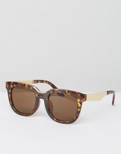 Большие солнцезащитные очки в квадратной черепаховой оправе AJ Morgan - Коричневый
