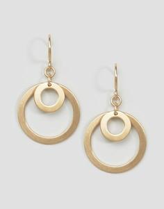 Золотистые серьги-подвески с двойными кольцами Pilgrim - Золотой