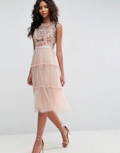 Платье миди из тюля с декоративной отделкой Needle & Thread - Розовый