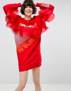 Платье-свитшот с принтом и тюлевой отделкой ASOS - Красный