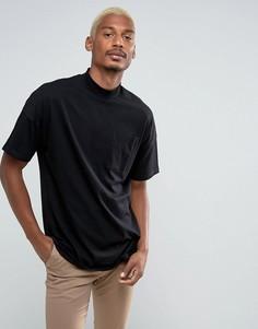 Черная свободная футболка с карманом ASOS - Черный