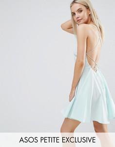 Платье мини с глубоким вырезом ASOS PETITE - Фиолетовый