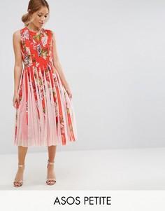 Приталенное платье миди со свободной юбкой и цветочным принтом ASOS PETITE - Мульти