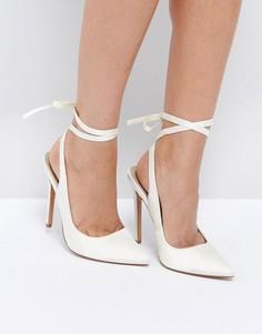 Туфли на высоком каблуке с острым носком ASOS PIPE DOWN Bridal - Кремовый