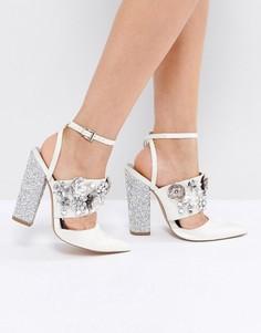 Туфли на каблуке с отделкой ASOS PAPAYA Bridal - Кремовый