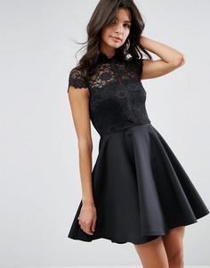 Короткое приталенное платье с кружевным топом ASOS - Черный