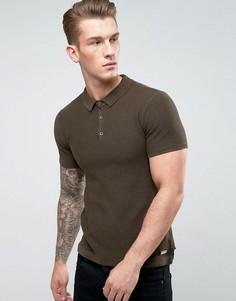 Фактурная футболка-поло Brave Soul - Зеленый