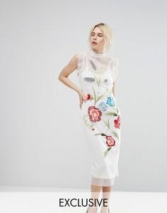 Платье миди с вышивкой и сеточкой в горошек Hope & Ivy - Белый