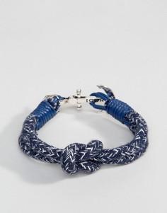 Плетеный браслет в темно-синюю полоску Icon Brand - Темно-синий