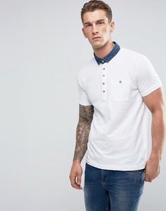 Поло с контрастным джинсовым воротником Brave Soul - Белый