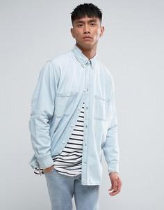 Бледно-синяя джинсовая рубашка с рваной отделкой Cheap Monday - Синий