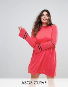Трикотажное платье с расклешенными рукавами и отделкой ASOS CURVE - Розовый