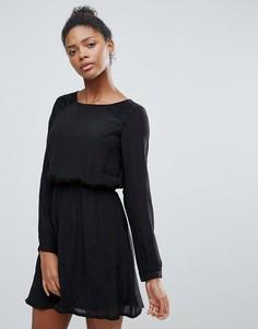 Короткое приталенное платье с длинными рукавами Vila - Черный
