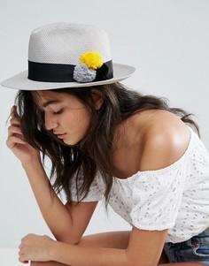 Серая шляпа-трилби с разноцветными помпонами Helene Berman - Серый