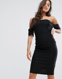 Платье-бандо с пуговицами Vesper - Черный