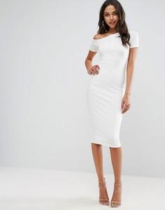 Облегающее платье миди на одно плечо с планкой на кнопках ASOS - Кремовый