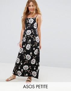 Темное платье макси с V-образным вырезом и цветочным принтом ASOS PETITE - Мульти