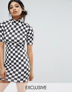 Облегающее платье в шахматную клетку с высоким воротом Bones - Мульти