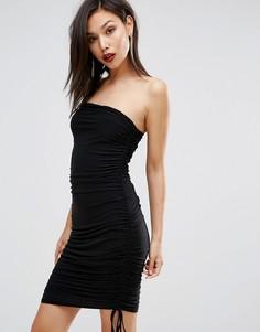 Платье-бандо со сборками Club L - Черный