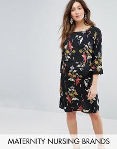 Платье для беременных и кормящих с цветочным принтом Mamalicious - Белый Mama.Licious