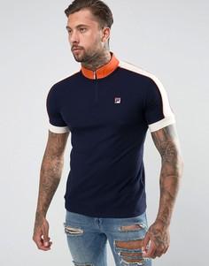 Темно-синяя футболка-поло с молнией Fila Vintage - Темно-синий