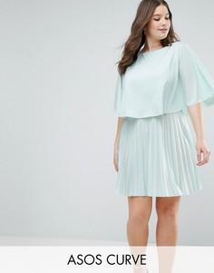 Короткое платье-кимоно с плиссировкой и кейпом ASOS CURVE - Зеленый