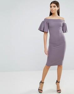 Платье миди с широким вырезом и рукавами-оборками Oh My Love - Серый