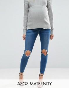 Темные выбеленные джинсы скинни с рваной отделкой и посадкой под животом ASOS MATERNITY RIDLEY - Синий