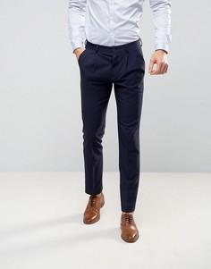 Темно-синие узкие брюки из фактурной ткани ASOS WEDDING - Темно-синий