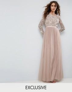 Платье макси с вышивкой и длинными рукавами Needle and Thread - Розовый
