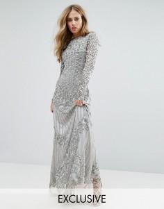 Декорированное платье макси с длинными рукавами A Star Is Born - Серебряный