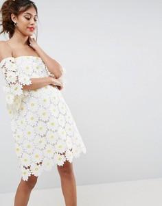 Платье мини с лифом-бандо и вышивкой цветов ASOS - Мульти