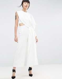 Комбинезон с драпировкой сбоку ASOS WHITE - Белый
