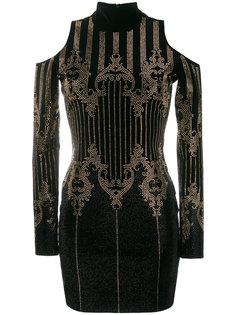 платье с открытыми плечами и заклепками Balmain