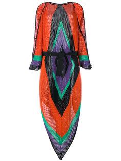 платье с геометрическим принтом и вырезами Balmain