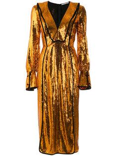 платье с длинными рукавами и пайетками Marco De Vincenzo
