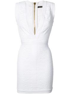 мини-платье с глубоким V-образным вырезом Balmain