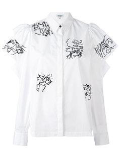 блузка с оборками и вышивкой Kenzo